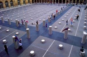 Daniel Buren, Les deux plateaux, 1986, Palais-Royal, Paris,Vue 2